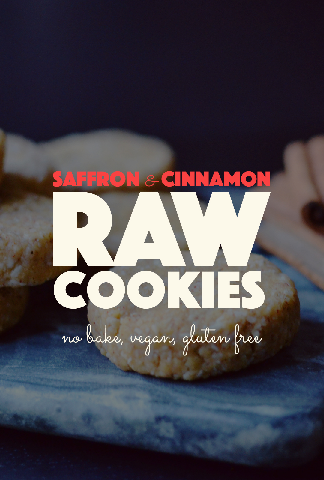 Raw Saffron Cinnamon Cookies | http://BananaBloom.com #saffron #rawfood #rawcookies #rawbaking