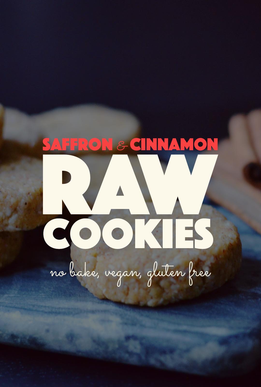 Raw Saffron Cinnamon Cookies |http://BananaBloom.com #saffron #rawfood #rawcookies #rawbaking