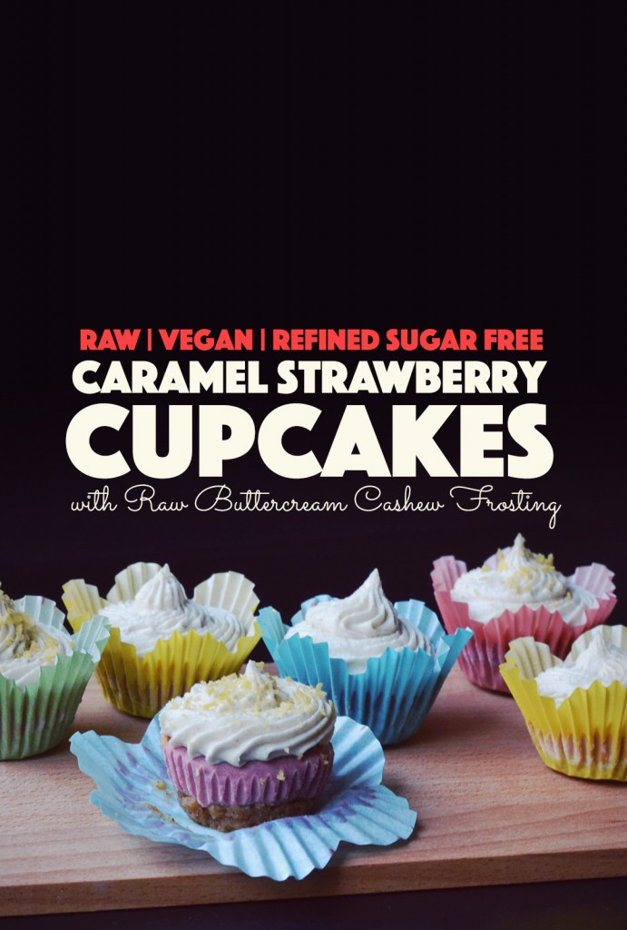 Raw Caramel Strawberry Cupcakes with Buttercream Cashew Frosting | http://BananaBloom.com #rawfood #cupcakes #rawbaking #health