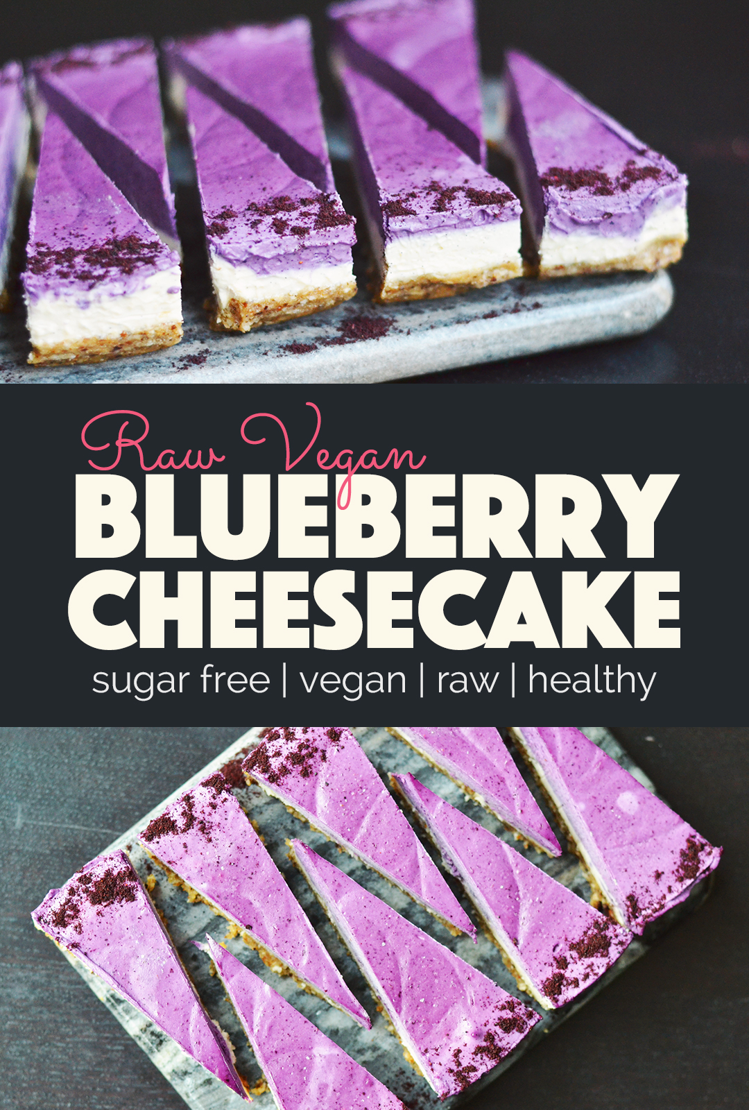 Raw Vegan Blueberry Cheesecake | http://BananaBloom.com #rawvegan